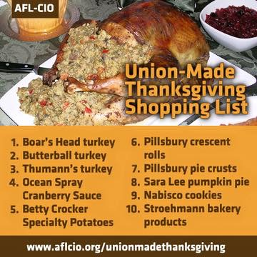 Have A Happy Thanksgiving. Here is your union made shopping list.