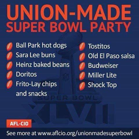 Happy Super Bowl Sunday. Please buy union.